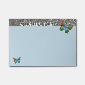Personalized Name Rainbow Blue Butterfly Silver Post-it® Notes