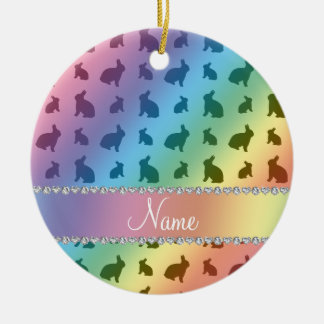 Personalized name rainbow bunnies christmas ornament