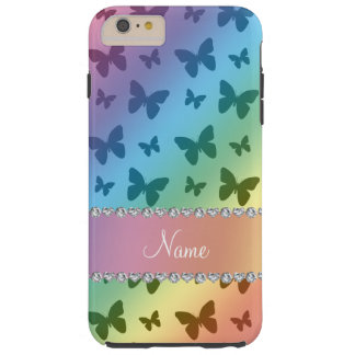 Personalized name rainbow butterflies tough iPhone 6 plus case