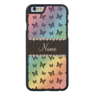 Personalized name rainbow butterfly pattern carved® maple iPhone 6 slim case