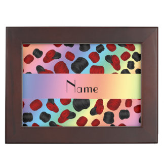 Personalized name rainbow checkers game memory boxes