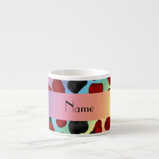 Personalized name rainbow checkers game espresso cup