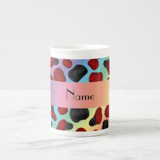 Personalized name rainbow checkers game porcelain mug