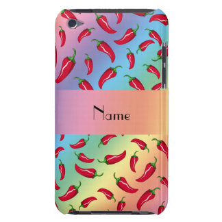 Personalized name rainbow chili pepper iPod touch cases