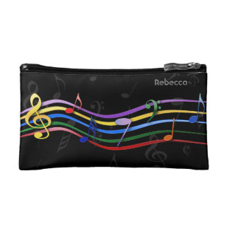 Personalized Name Rainbow Colored Music Notes Cosmetic Bags