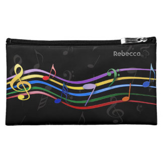 Personalized Name Rainbow Colored Music Notes Makeup Bags