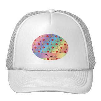 Personalized name rainbow cricket pattern cap