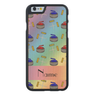 Personalized name rainbow curling pattern carved® maple iPhone 6 slim case