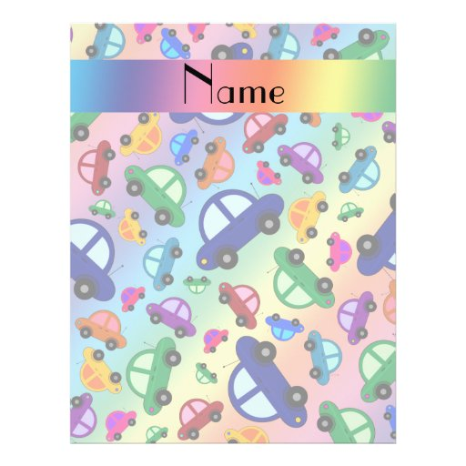 Personalized name rainbow cute car pattern flyer