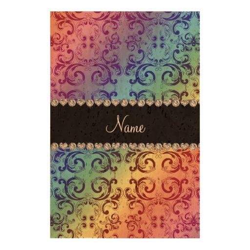 Personalized name rainbow damask swirls cork fabric
