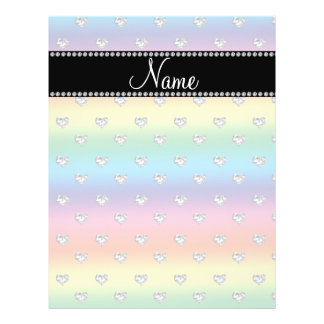 Personalized name rainbow diamond hearts full color flyer