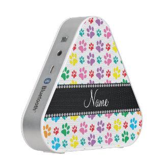 Personalized name rainbow dog paw prints speaker