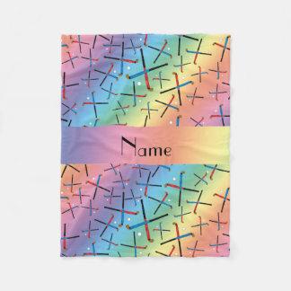 Personalized name rainbow field hockey fleece blanket