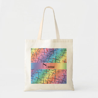 Personalized name rainbow field hockey pattern budget tote bag