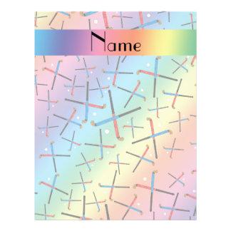 Personalized name rainbow field hockey pattern flyers