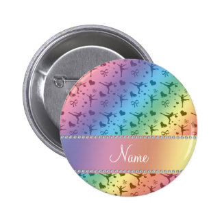 Personalized name rainbow figure skating 6 cm round badge