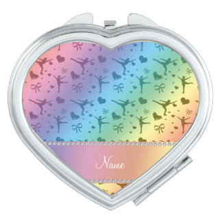 Personalized name rainbow figure skating travel mirrors