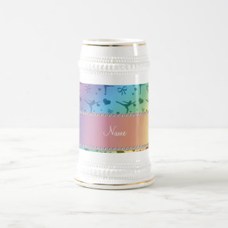Personalized name rainbow figure skating mugs