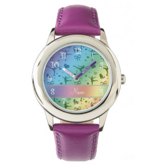 Personalized name rainbow figure skating wrist watch