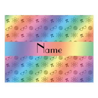 Personalized name rainbow geek pattern postcard