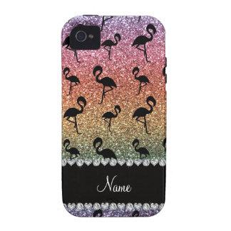 Personalized name rainbow glitter flamingos iPhone 4 case