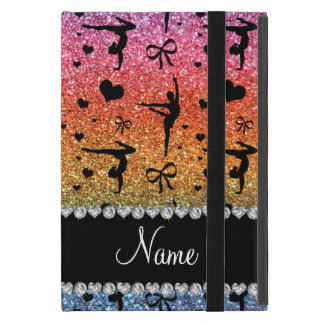 Personalized name rainbow glitter gymnastics cases for iPad mini