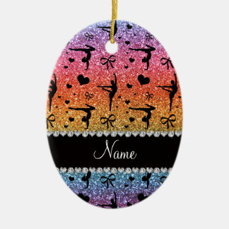 Personalized name rainbow glitter gymnastics christmas ornament