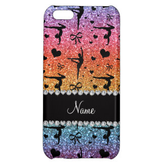 Personalized name rainbow glitter gymnastics cover for iPhone 5C
