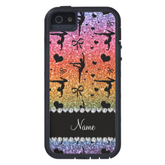 Personalized name rainbow glitter gymnastics iPhone 5 covers