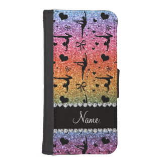 Personalized name rainbow glitter gymnastics iPhone SE/5/5s wallet case