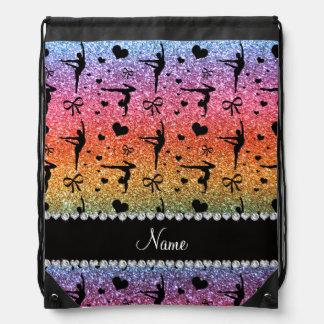 Personalized name rainbow glitter gymnastics rucksacks