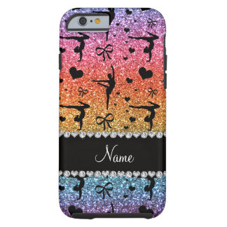 Personalized name rainbow glitter gymnastics tough iPhone 6 case