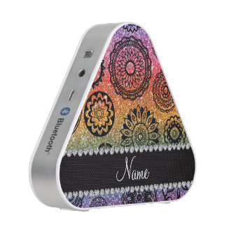 Personalized name rainbow glitter mandalas speaker