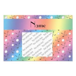 Personalized name rainbow golf balls photographic print