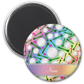 Personalized name rainbow golf balls tees hearts 6 cm round magnet