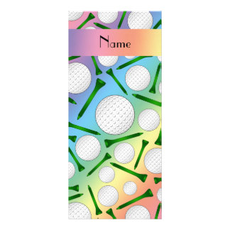 Personalized name rainbow golf balls tees rack cards