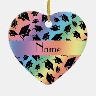 Personalized name rainbow graduation cap ornaments