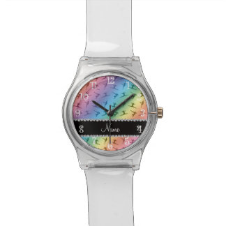 Personalized name rainbow gymnastics pattern watch