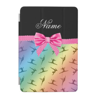 Personalized name rainbow gymnastics pink bow iPad mini cover