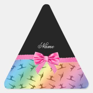 Personalized name rainbow gymnastics pink bow stickers