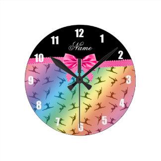 Personalized name rainbow gymnastics pink bow wall clocks