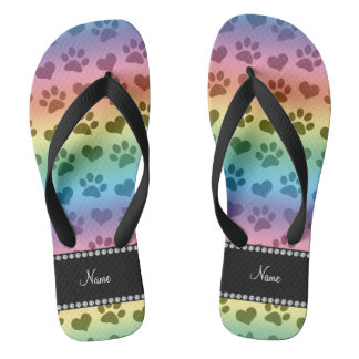 Personalized name rainbow hearts and paw prints flip flops