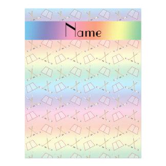 Personalized name rainbow hockey pattern custom flyer