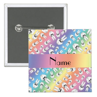 Personalized name rainbow karate pattern pins