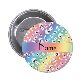 Personalized name rainbow karate pattern pin