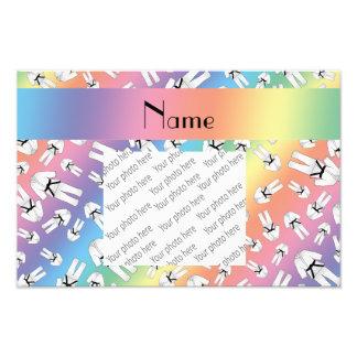 Personalized name rainbow karate pattern photo art