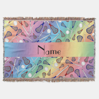 Personalized name rainbow lacrosse pattern throw blanket