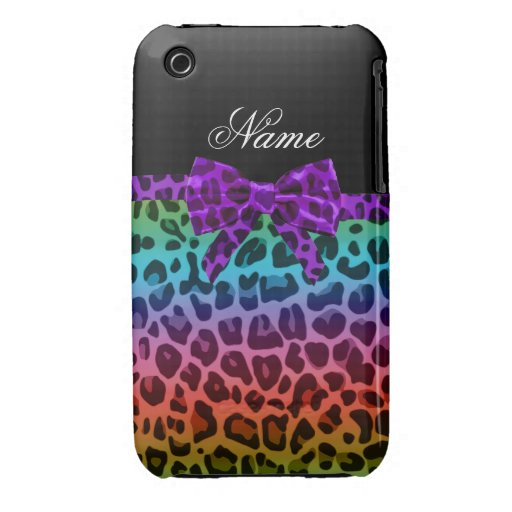 Personalized name rainbow leopard print purple bow Case-Mate iPhone 3 cases