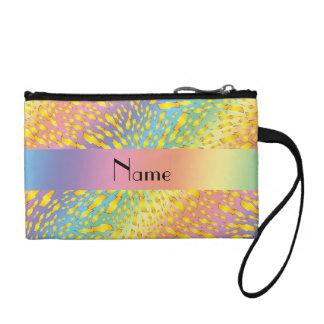 Personalized name rainbow lightning bolts change purse