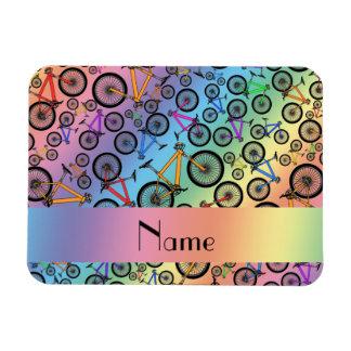 Personalized name rainbow mountain bikes rectangular magnet